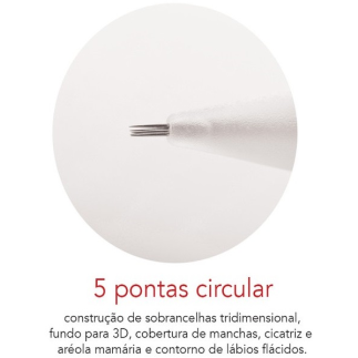 Agulha Dermomag 5 pontas Circular